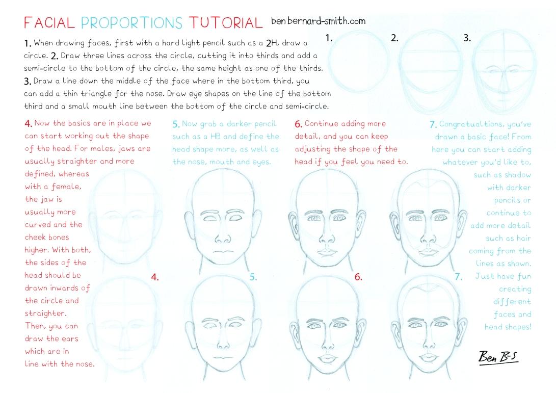 Facial proportions tutorial sheet