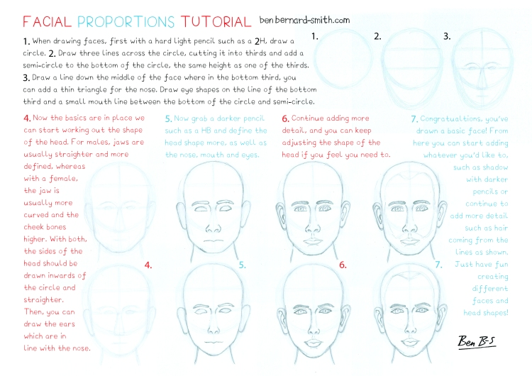 Facial proportions tutorial sheet
